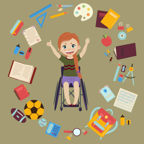Schoolgirl in wheelchair with school supplies vector art illustration
