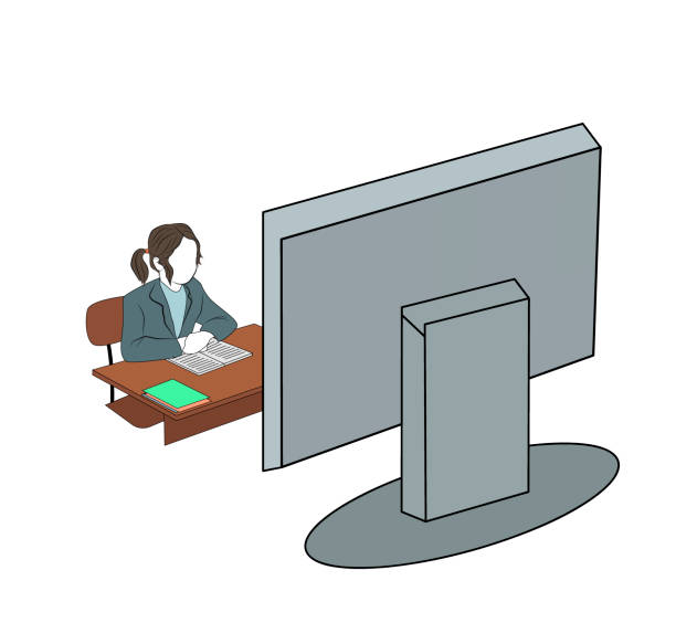 ilustrações de stock, clip art, desenhos animados e ícones de schoolgirl is sitting in front of the monitor. online home education. training during quarantine. vector illustration. - young girl computer home front