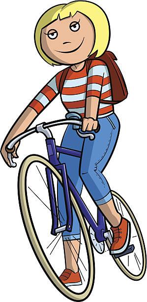 schulkind-nur mädchen auf dem fahrrad - lustige fahrrad stock-grafiken, -clipart, -cartoons und -symbole
