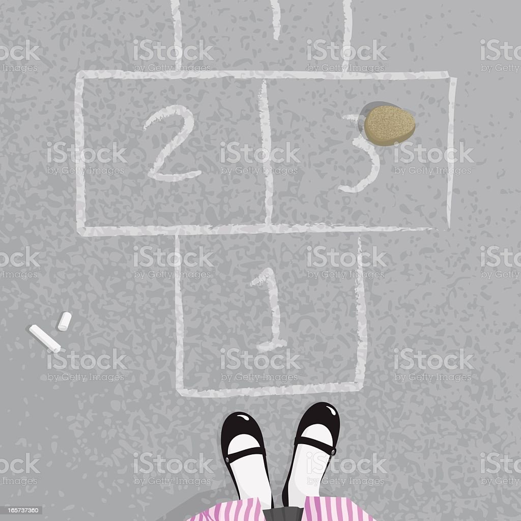 Schoolgirl playing hopscotch at the school illustration vector royalty-free stock vector art