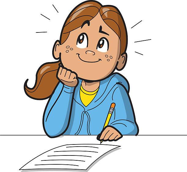 Schoolgirl Taking Test vector art illustration