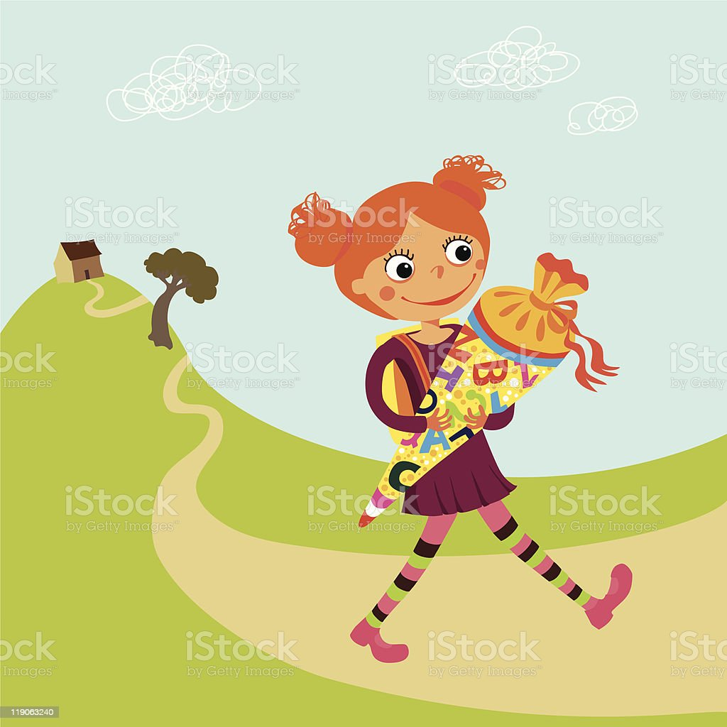 Schoolgirl vector art illustration