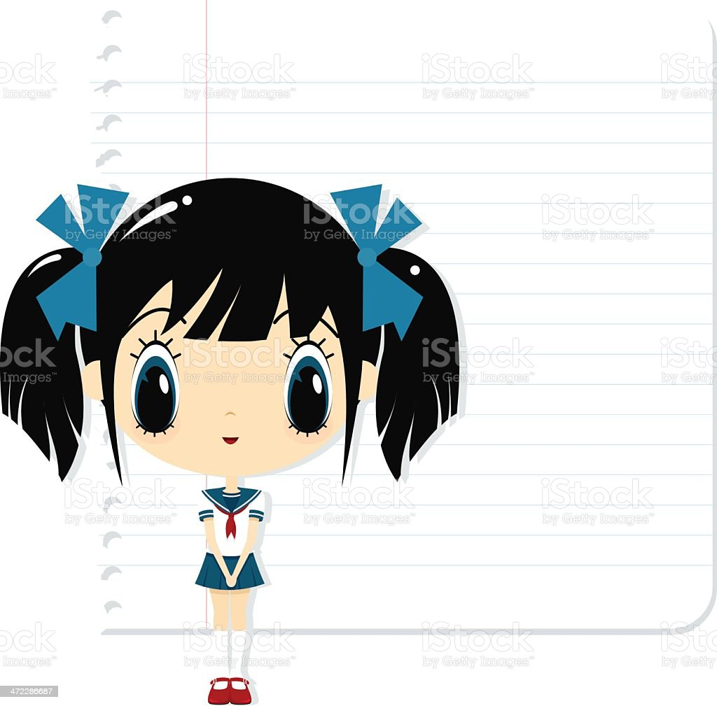 schoolgirl vector art illustration