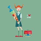 Schoolgirl with a Schultuete cone. German tradition. I love school.