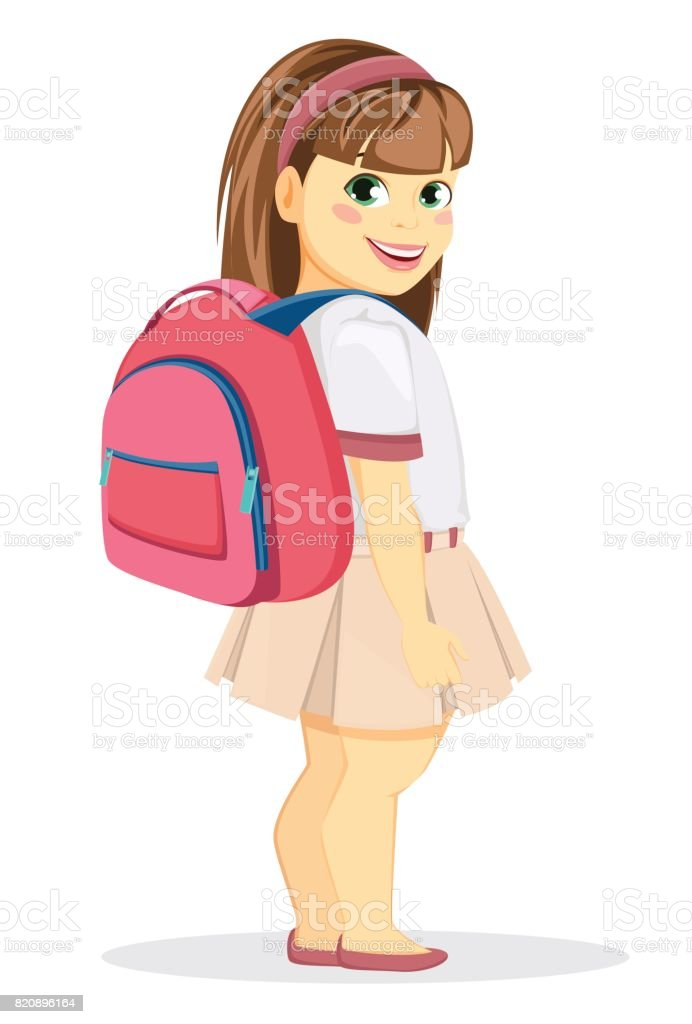 Schoolgirl With Backpack Coming Back To School Cute Smiling Girl ... 83495d3da695c