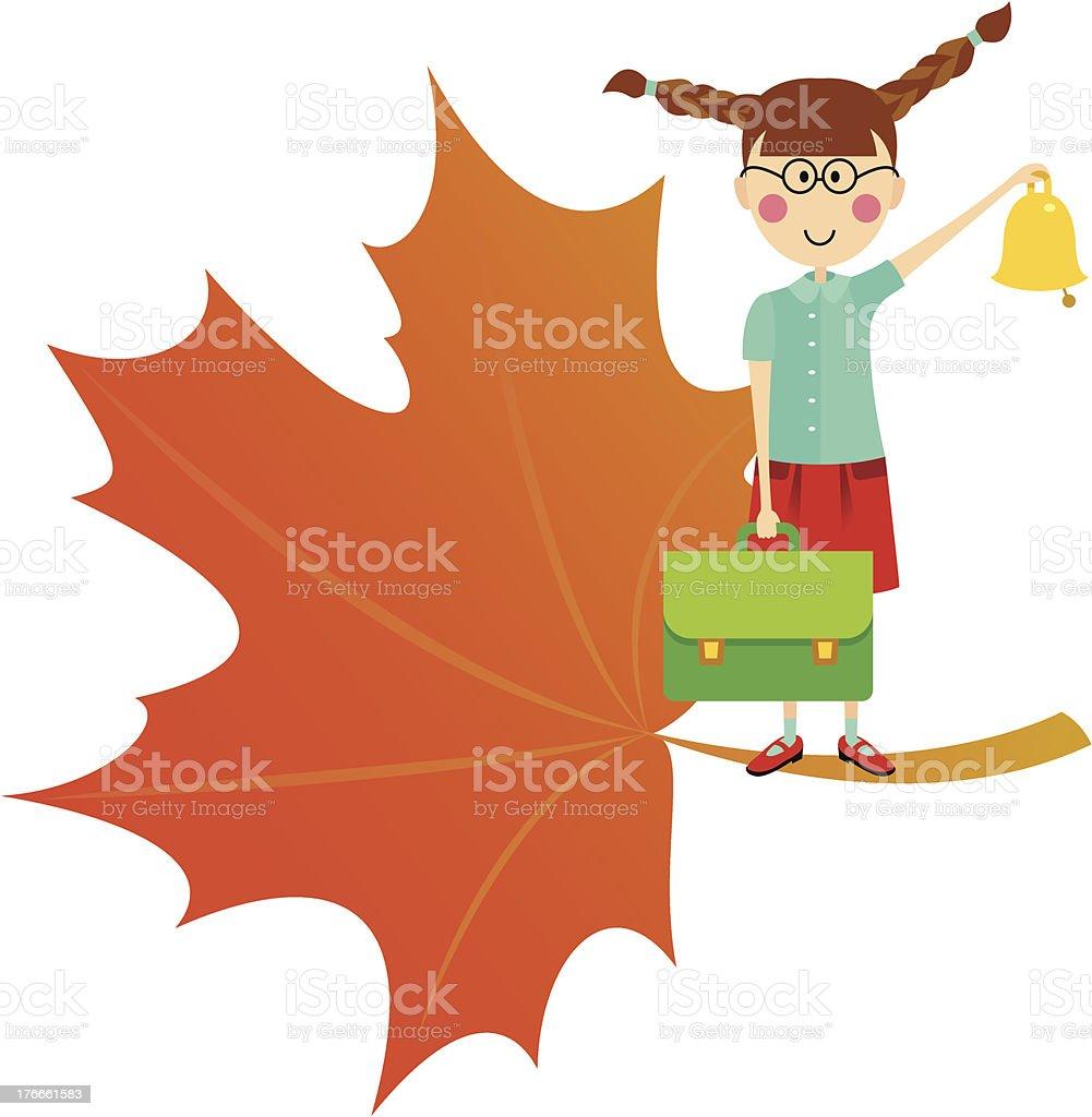 Schoolgirl with bell royalty-free schoolgirl with bell stock vector art & more images of autumn