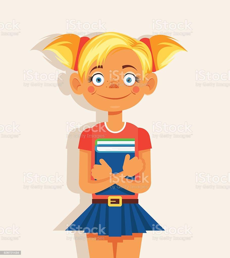 Ilustración De Niña En Edad Escolar Con Libro Ilustración De