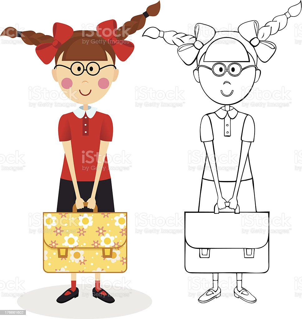 Schoolgirl with briefcase royalty-free schoolgirl with briefcase stock vector art & more images of bag