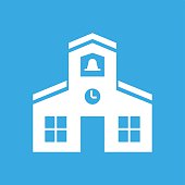 Schoolhouse icon on a blue background.