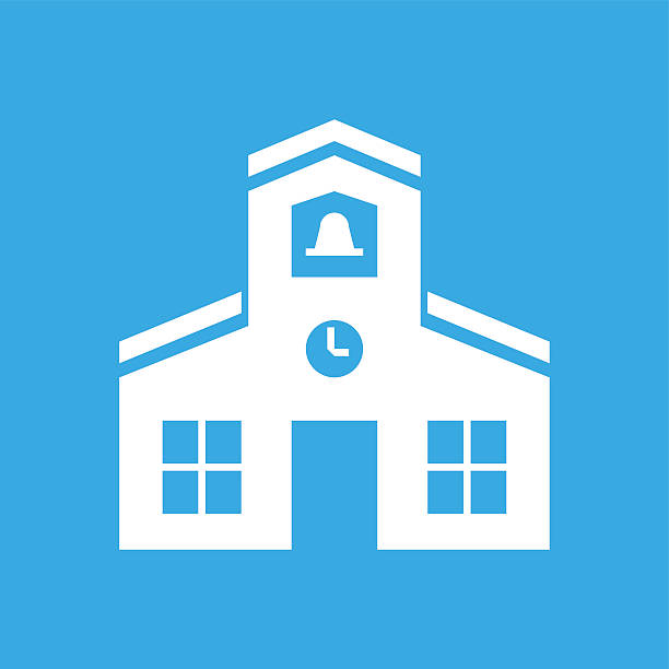 Schoolhouse icon on a blue background. Illustration includes a white, Schoolhouse icon on a blue, square shape, color button on a white background. schoolhouse stock illustrations