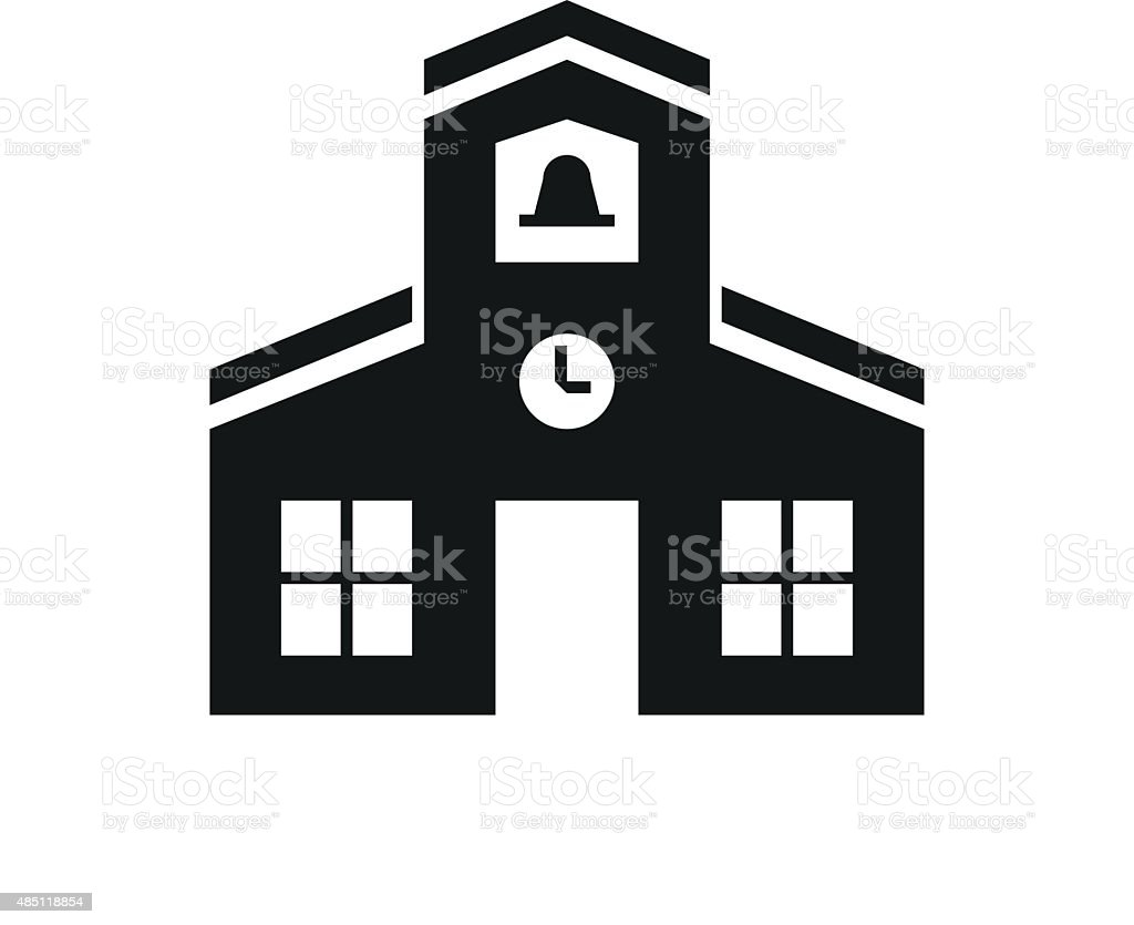 Schoolhouse icon on a white background. vector art illustration