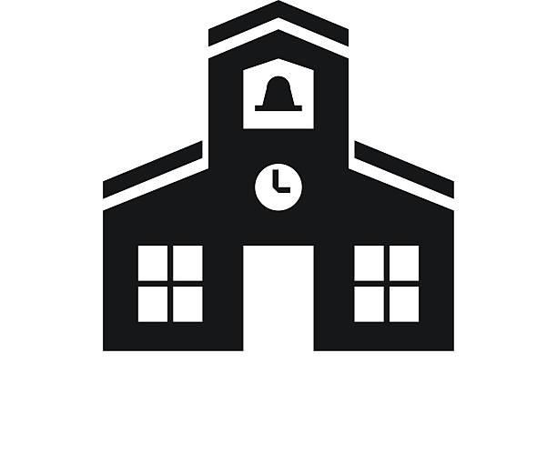 Schoolhouse icon on a white background. Illustration includes a black, Schoolhouse icon on a white background. schoolhouse stock illustrations