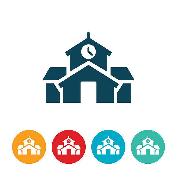 Schoolhouse Icon Schoolhouse, School, School building, icon, symbol. schoolhouse stock illustrations