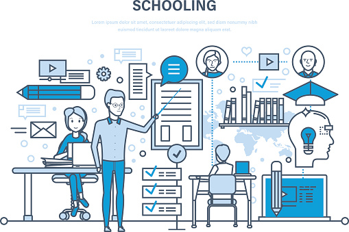 Schooling. Training, education. Teaching on lesson in classroom. Learning, knowledge