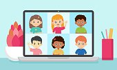 Online education vector illustration. Smiling kids on a screen of laptop. Video conference with pupils.