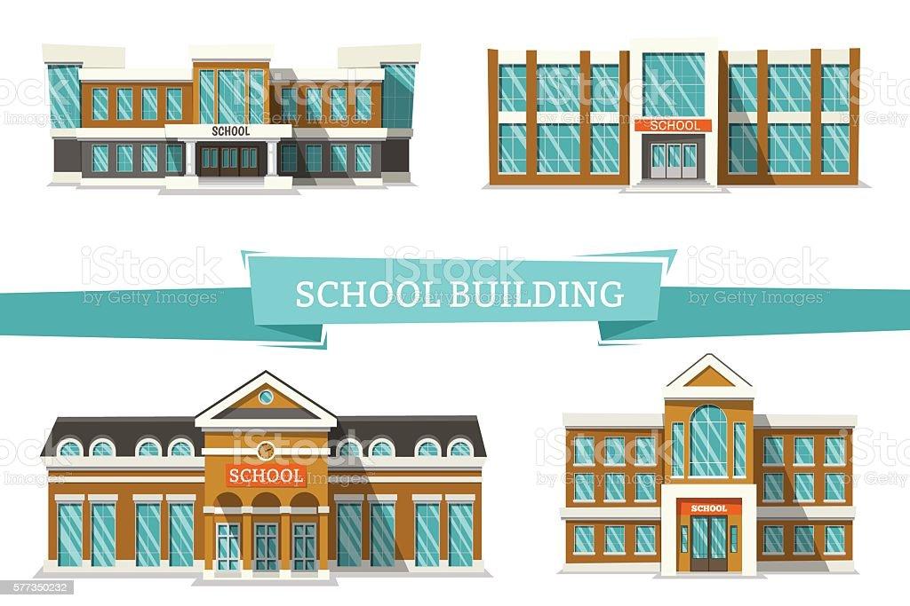 Schooll buildings on white vector art illustration