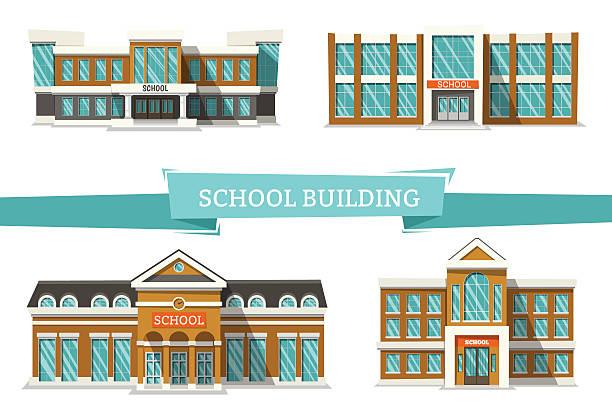 schooll buildings on white - ziegelwände stock-grafiken, -clipart, -cartoons und -symbole