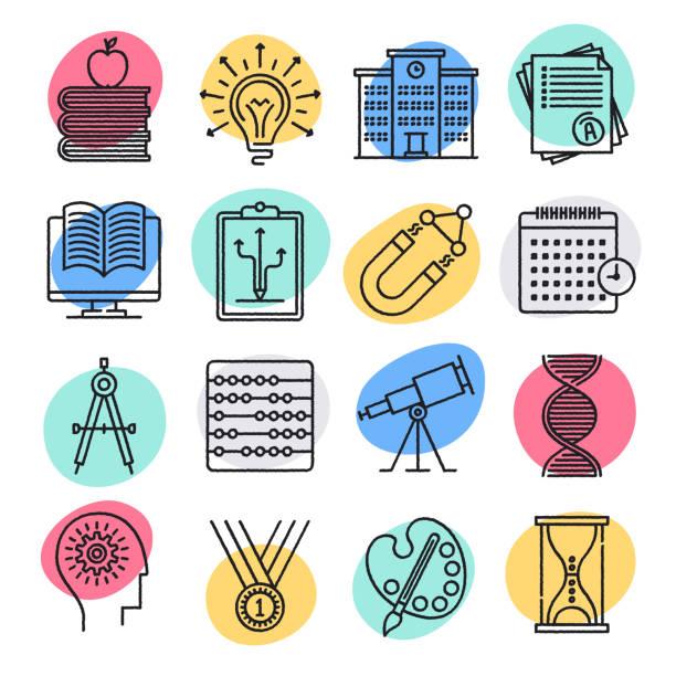 stockillustraties, clipart, cartoons en iconen met scholen & cognitieve ontwikkeling doodle stijl vector icon set - geestelijk welzijn