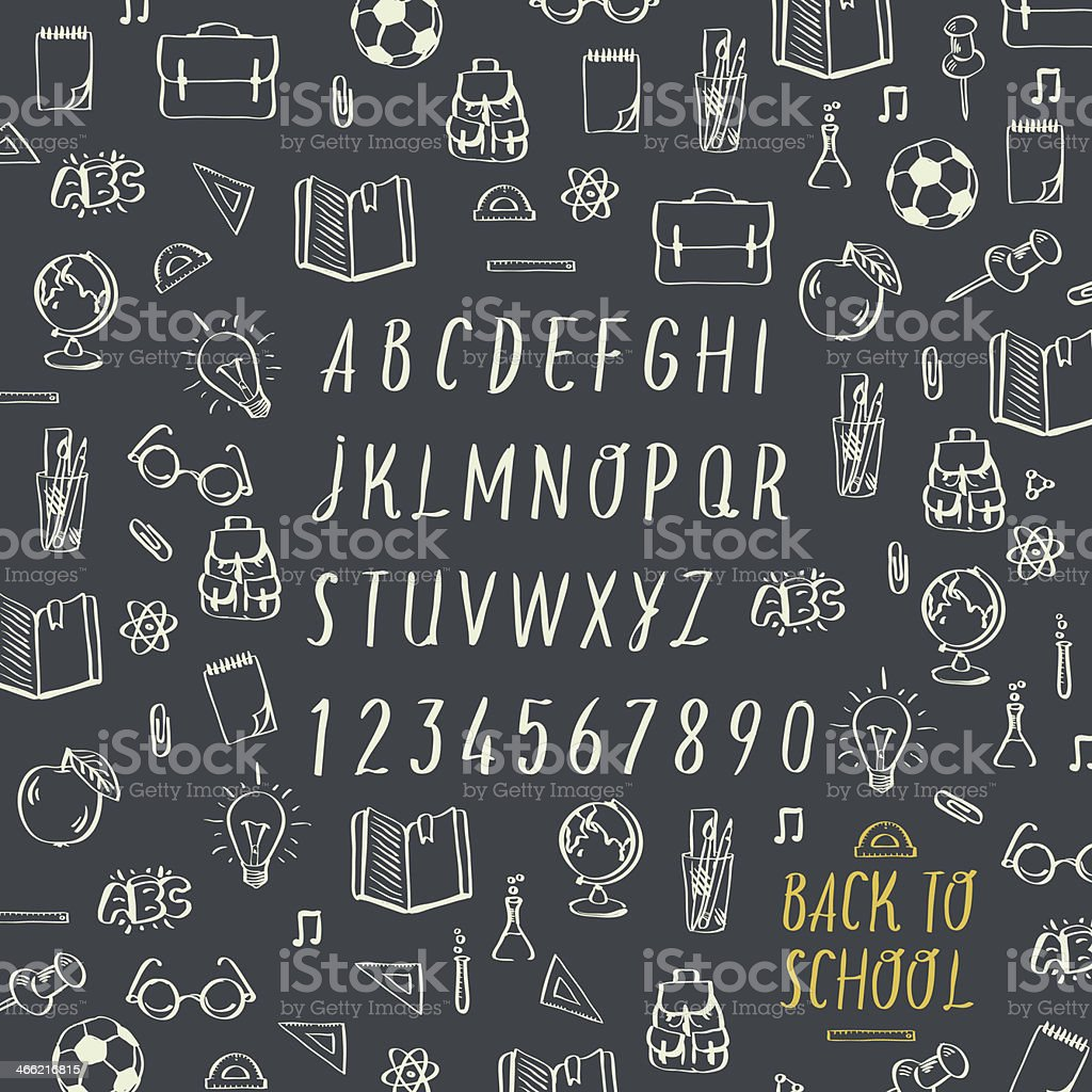 Schools hands draw chalk written font royalty-free stock vector art