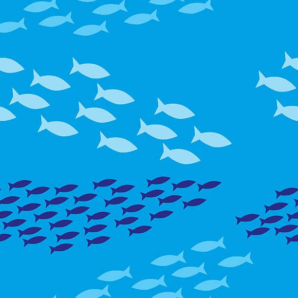 Banc de poissons à motif - Illustration vectorielle