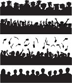 The top row shows students waiting to graduate, the second row shows them cheering, the third shows them throwing their hats into the air, and the forth shows them without hats. The hats in each row are separate and on a separate layer.