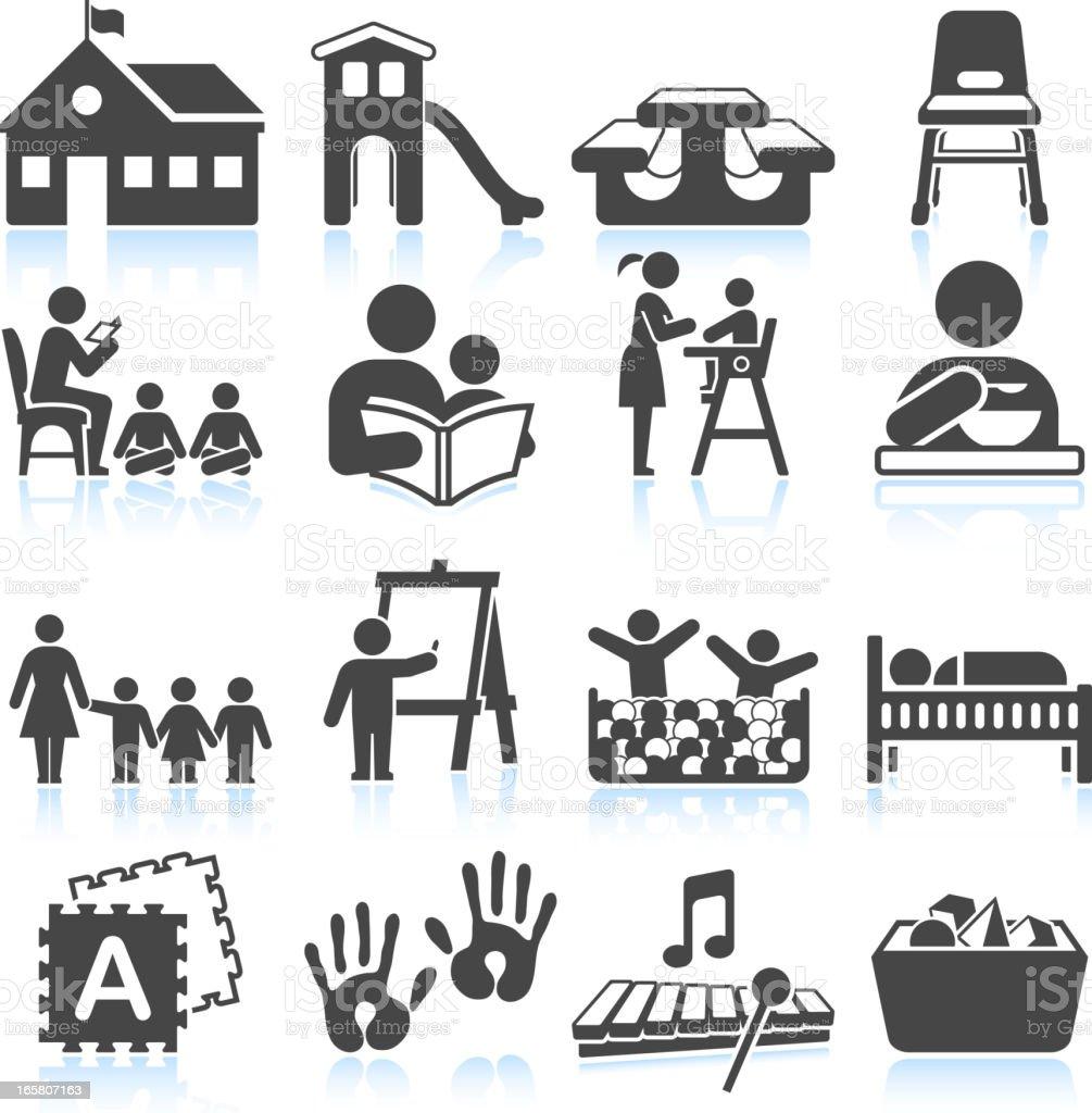 School-themed graphics on white background vector art illustration
