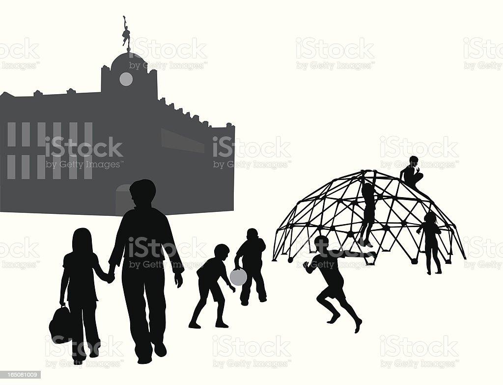 Schoolyard Vector Silhouette royalty-free stock vector art