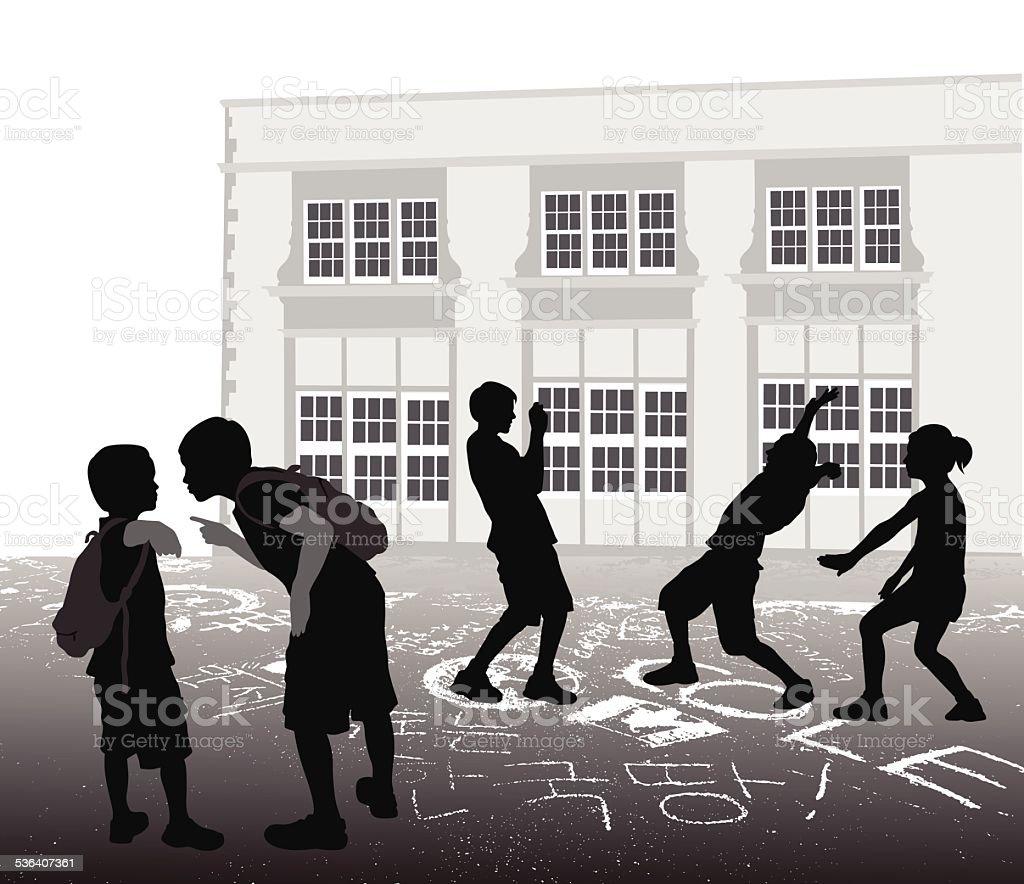 SchoolyardBully vector art illustration