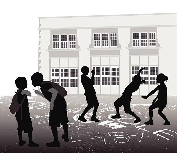 schoolyardbully - grundschule stock-grafiken, -clipart, -cartoons und -symbole
