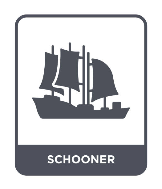 schooner icon vector on white background, schooner trendy filled icons from Transportation collection vector art illustration