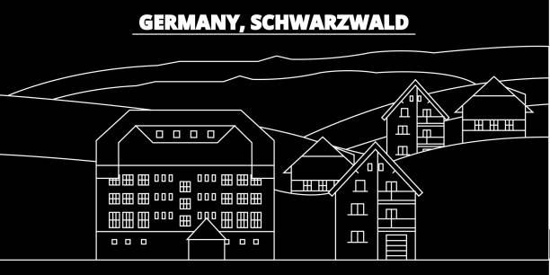 schwarzwald-silhouette skyline. deutschland - schwarzwald-vektor-stadt, deutsche lineare architektur, gebäude. schwarzwald reisen darstellung, gliederung wahrzeichen. deutschland-flach-symbol, deutsche linie banner - schwarzwald stock-grafiken, -clipart, -cartoons und -symbole