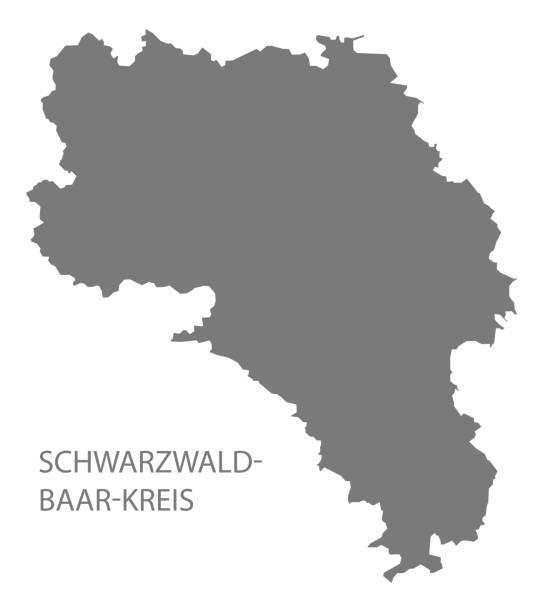 schwarzwald-baar-kreis landkarte baden-württemberg - schwarzwald stock-grafiken, -clipart, -cartoons und -symbole