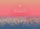 Sci fi futuristic abstract 80s Retro Neon gradient background with graphic sun on horizon.