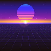 Sci fi futuristic abstract background with graphic sun on horizon. Violet retro gradient, vintage style of the 80s. Virtual surface with neon grids, digital cyber world. Illustration for poster