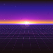 Sci fi futuristic abstract background with neon grids and stars. Violet retro gradient, vintage style of the 80s. Virtual surface, digital cyber world. Vector illustration for your design of layout