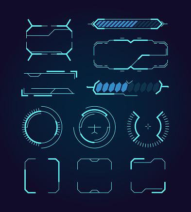 Sci fi ui. Hud web futuristic elements modern space game signs callouts digital dividers frames hologram symbols vector