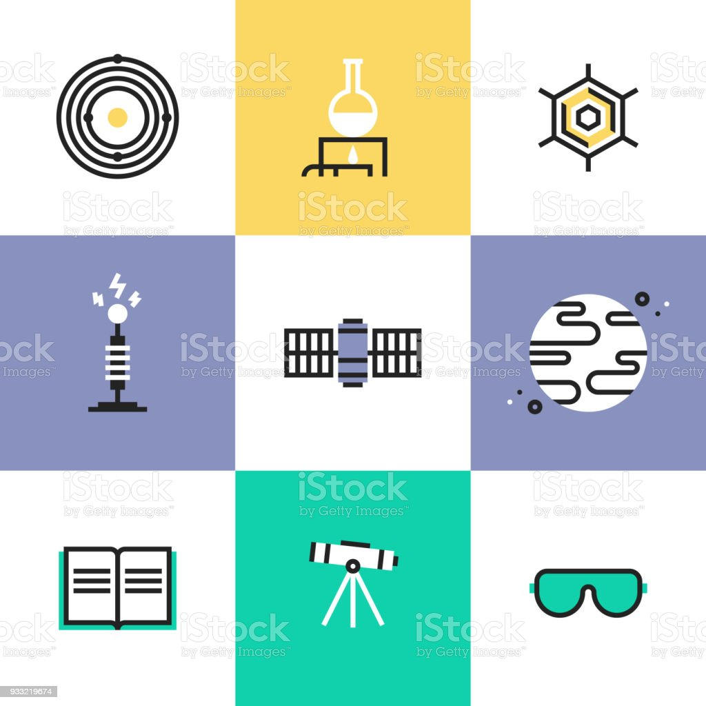 Science and astronomy pictogram icons set vector art illustration