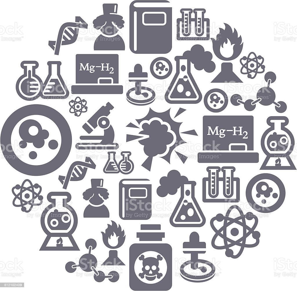 Science and Chemistry Icons in Circle Shape vector art illustration
