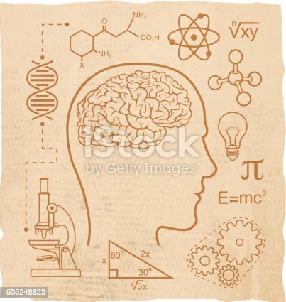 Science and education icons on antique paper.