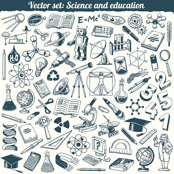 science and education doodles icons vector set - astronomy telescope stock illustrations