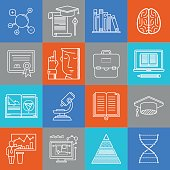 Science and education lineart minimal vector iconset on multicolor checkered texture