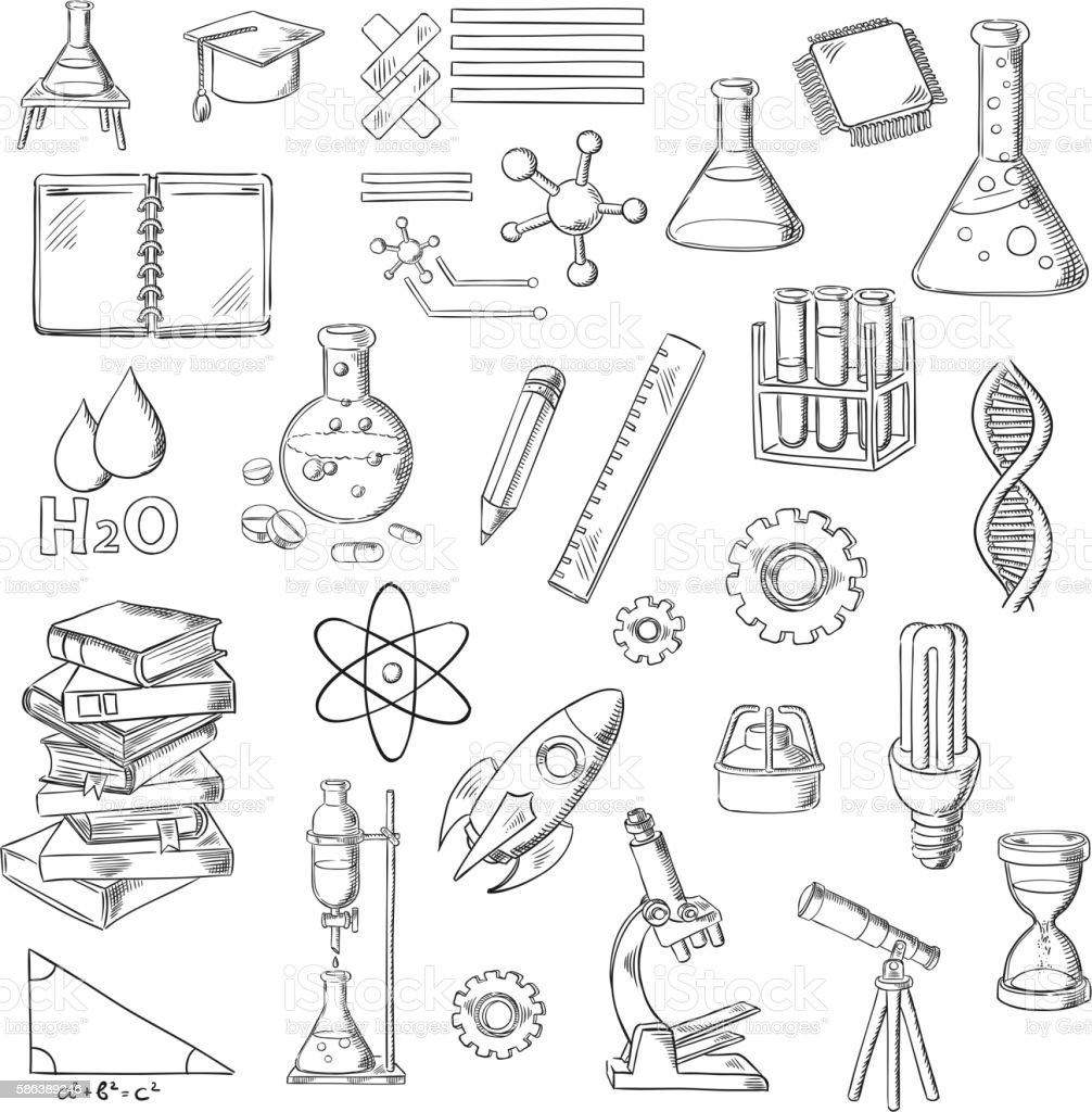 science and education sketch symbols stock vector art