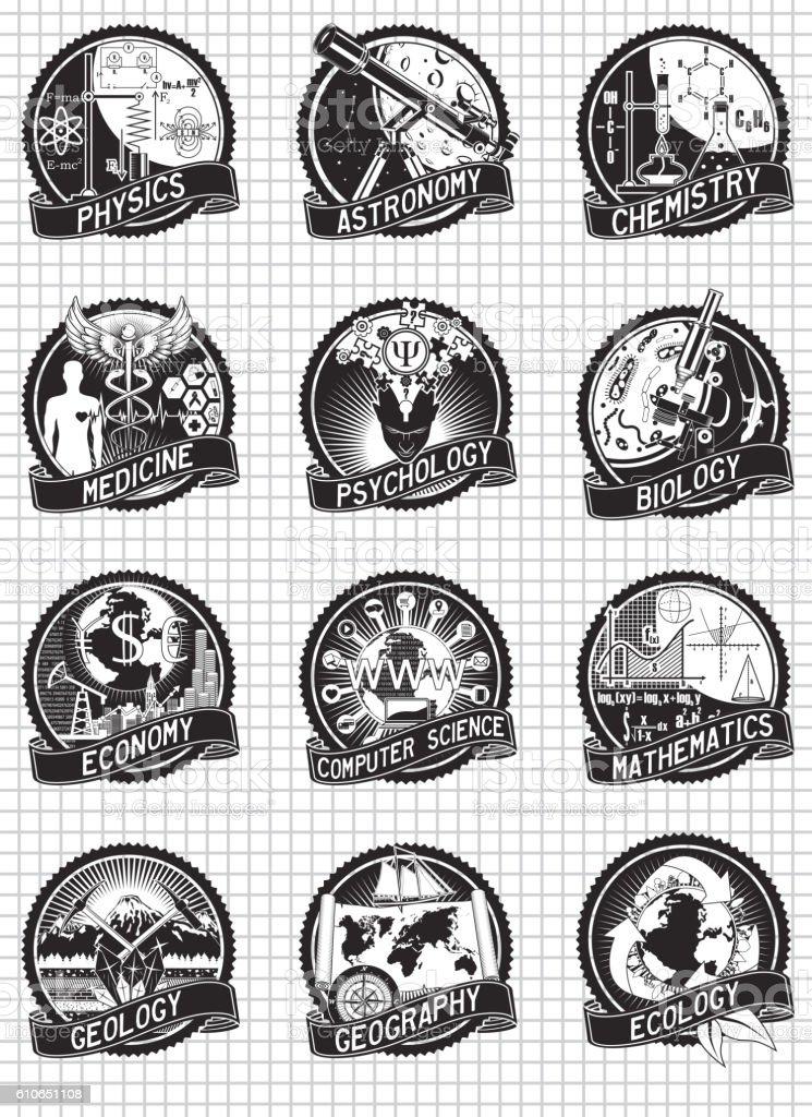 Science and education vector labels design - ilustração de arte em vetor
