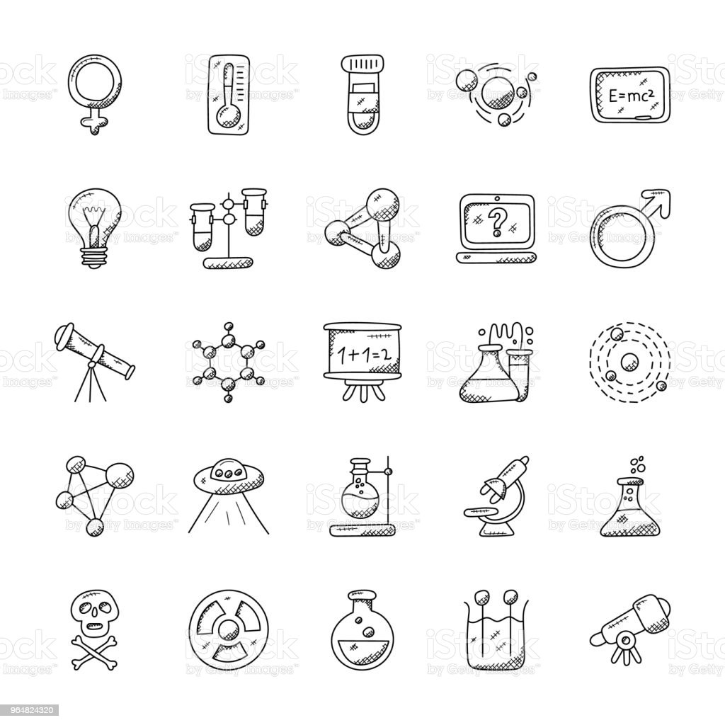 Science and Fiction Doodle Icons royalty-free science and fiction doodle icons stock vector art & more images of conical flask