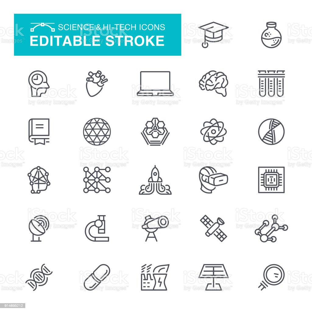 Science and Hi-Tech Icons Editable Stroke vector art illustration