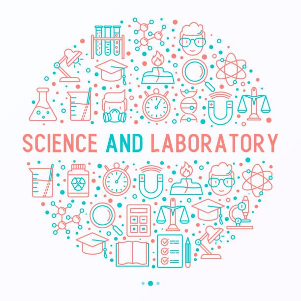 科学者、dna、顕微鏡、スケール、磁石、人工呼吸器、アルコール ランプの細い線アイコンの付いた円の科学研究所のコンセプトです。バナー、web ページ、印刷メディアのベクトル図です。 - 医学研究点のイラスト素材/クリップアート素材/マンガ素材/アイコン素材