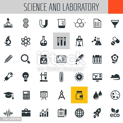 Trendy flat design Science and Laboratory icons collection
