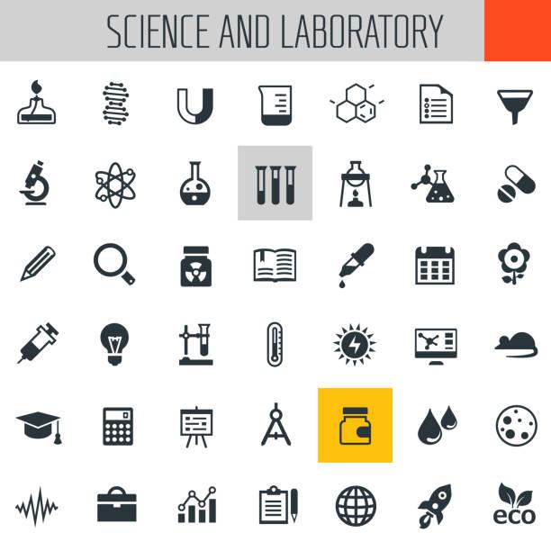 ilustraciones, imágenes clip art, dibujos animados e iconos de stock de laboratorio de ciencia y conjunto de iconos - química