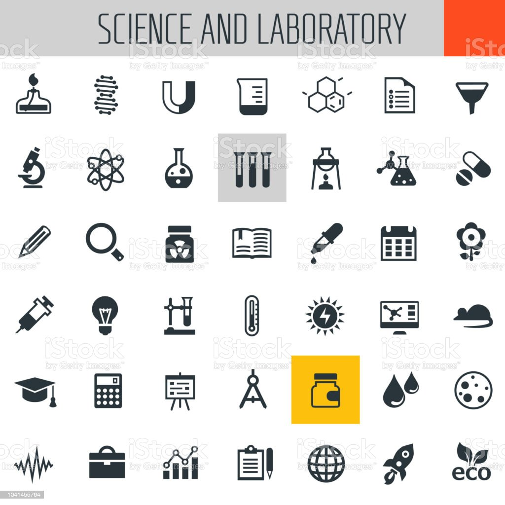 Science and Laboratory icon set vector art illustration