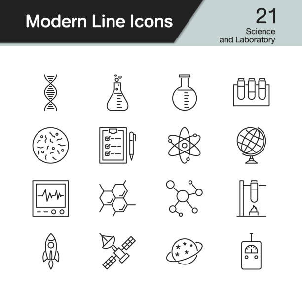 Science and Laboratory icons. Modern line design set 21. For presentation, graphic design, mobile application, web design, infographics. Science and Laboratory icons. Modern line design set 21. For presentation, graphic design, mobile application, web design, infographics. Vector illustration. laboratory glassware stock illustrations